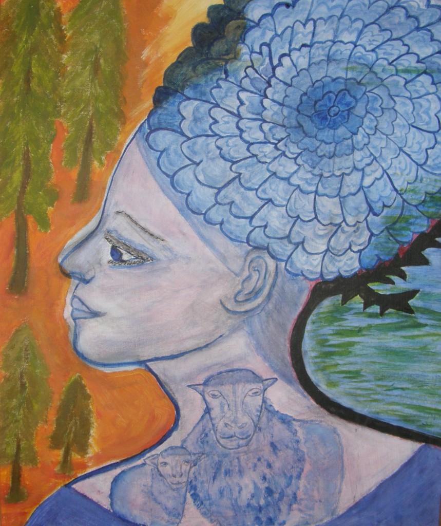 Johanna Engdahl. Self Portrait .Acrylic oncanvas panel, 46 x 55 cm, 2010