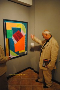 Art critic Luciano Lepri with J.Engdahl´s artwork