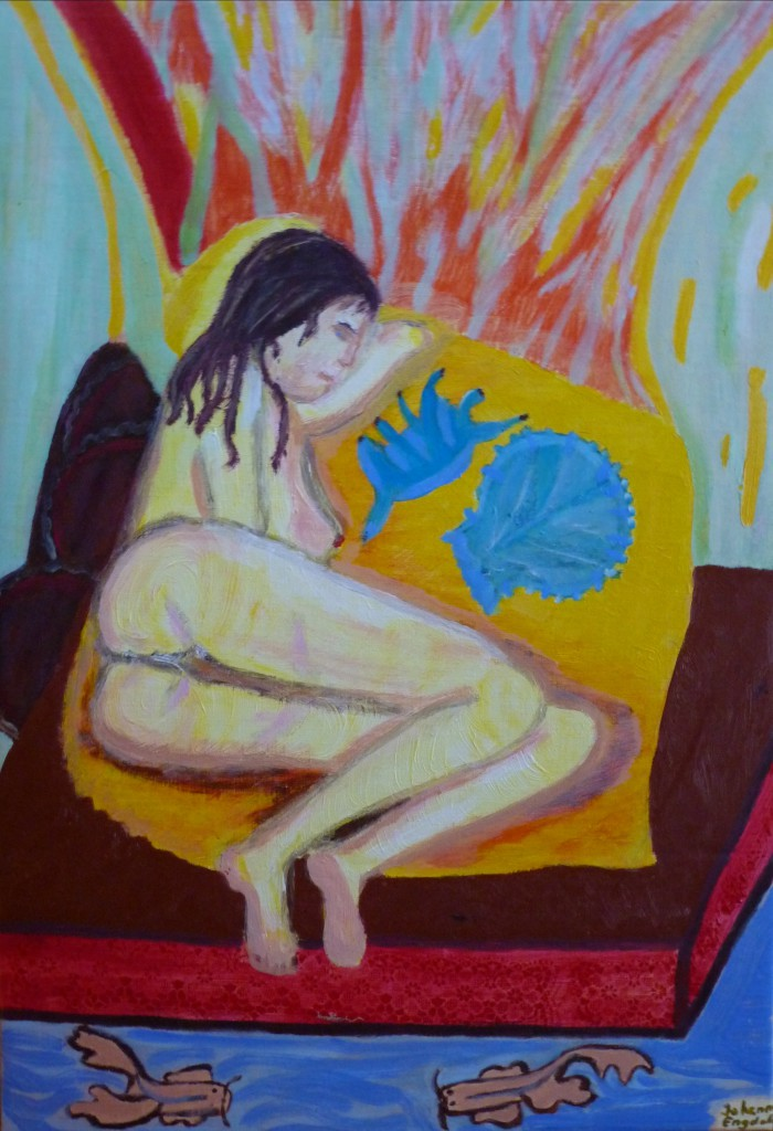 Johanna Engdahl. Sleeping woman with sea shells. Akrylic on canvas panel, 46 x 55 cm, 2013