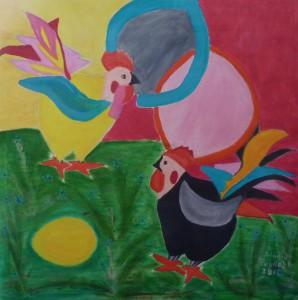 Tuppar och ett ägg. Cocks and an egg.