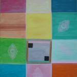 Johanna Engdahl. The 12 fun  squares. Acrylic on canvas, 90 x120 cm, 2013