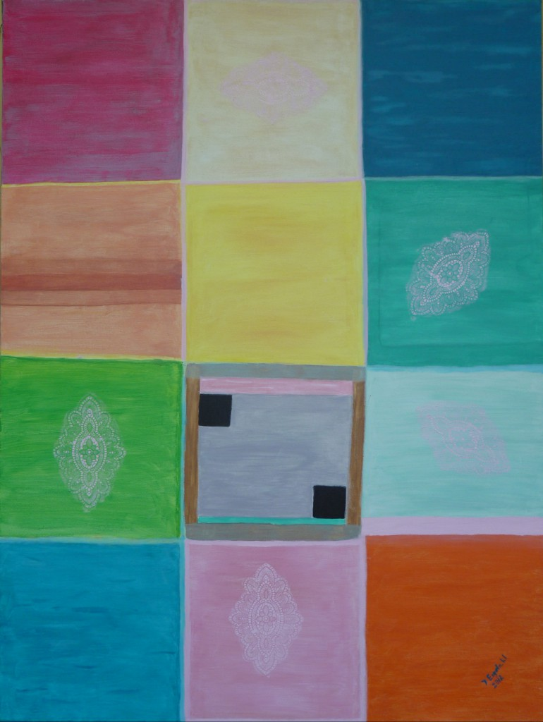 Johanna Engdahl. The 12 fun  squares. Acrylic on canvas, 90 x120 cm, 2013