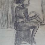 Johanna Engdahl. Sitting woman. Charcoal and acrylic on paper, 75x90 cm, 2013
