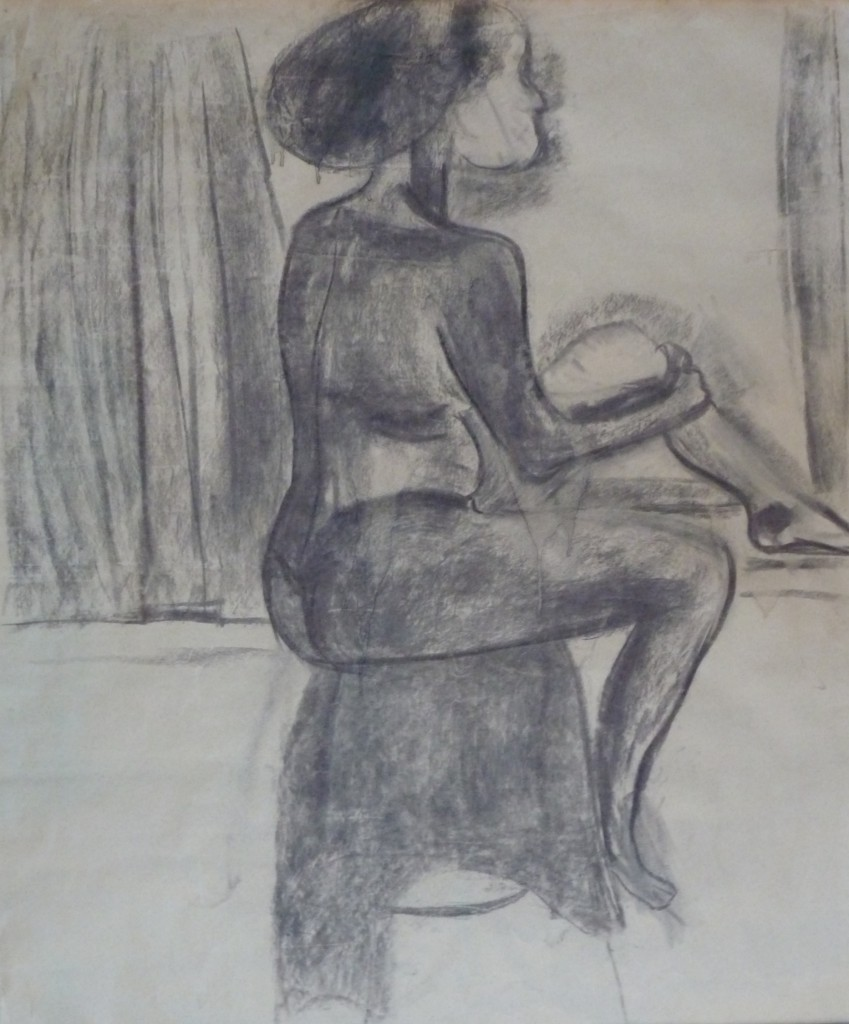 Johanna Engdahl. Sitting woman. Charcoal and acrylic on paper, 75x90 cm, 2013
